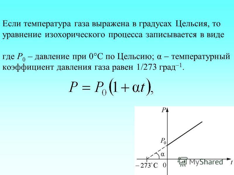 Если температура газа выражена в градусах Цельсия, то уравнение изохорического процесса записывается в виде где Р 0 – давление при 0 С по Цельсию; α температурный коэффициент давления газа равен 1/273 град 1.