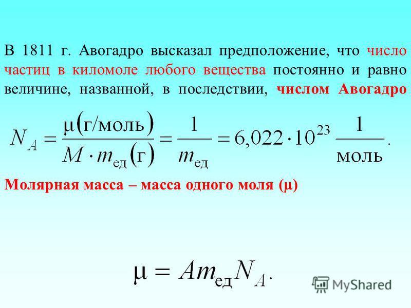 В 1811 г. Авогадро высказал предположение, что число частиц в киломоле любого вещества постоянно и равно величине, названной, в последствии, числом Авогадро Молярная масса – масса одного моля (µ)