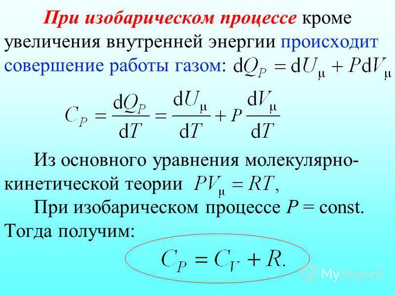 При изобарическом процессе кроме увеличения внутренней энергии происходит совершение работы газом: Из основного уравнения молекулярно- кинетической теории При изобарическом процессе Р = const. Тогда получим:
