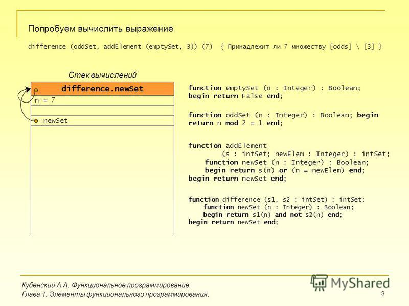 8 Кубенский А.А. Функциональное программирование. Глава 1. Элементы функционального программирования. Попробуем вычислить выражение difference (oddSet, addElement (emptySet, 3)) (7) { Принадлежит ли 7 множеству [odds] \ [3] } function emptySet (n : I