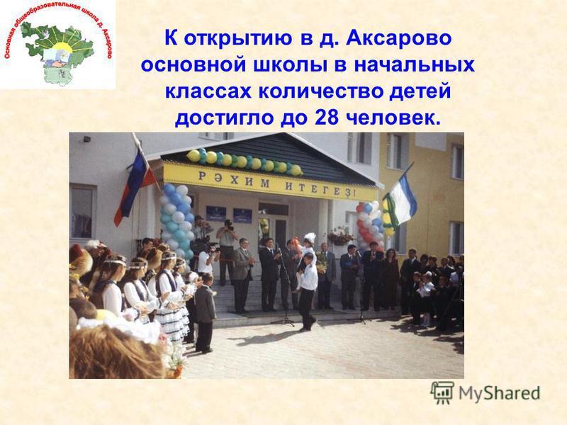 К открытию в д. Аксарово основной школы в начальных классах количество детей достигло до 28 человек.