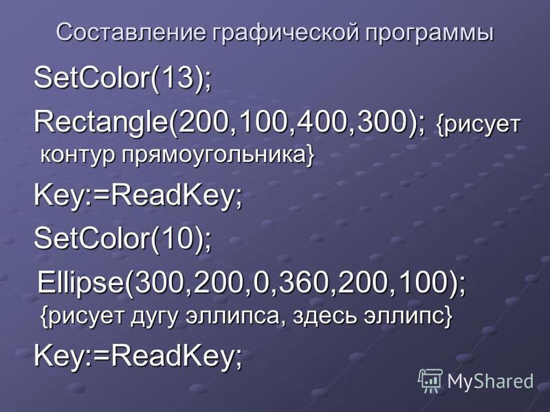 Составление графической программы SetColor(13); SetColor(13); Rectangle(200,100,400,300); {рисует контур прямоугольника} Rectangle(200,100,400,300); {рисует контур прямоугольника} Key:=ReadKey; Key:=ReadKey; SetColor(10); SetColor(10); Ellipse(300,20