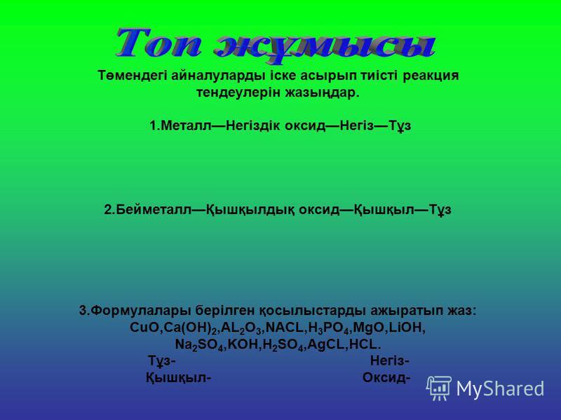 Төмендегі айналуларды іске асырып тиісті реакция тендеулерін жазыңдар. 1.МеталлНегіздік оксидНегізТұз 2.БейметаллҚышқылдық оксидҚышқылТұз 3.Формулалары берілген қосылыстарды ажыратып жаз: CuO,Ca(OH) 2,AL 2 O 3,NACL,H 3 PO 4,MgO,LіOH, Na 2 SO 4,KOH,H