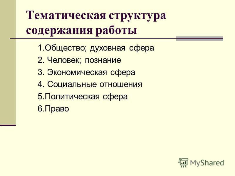 Тематическая структура содержания работы 1.Общество; духовная сфера 2. Человек; познание 3. Экономическая сфера 4. Социальные отношения 5. Политическая сфера 6.Право