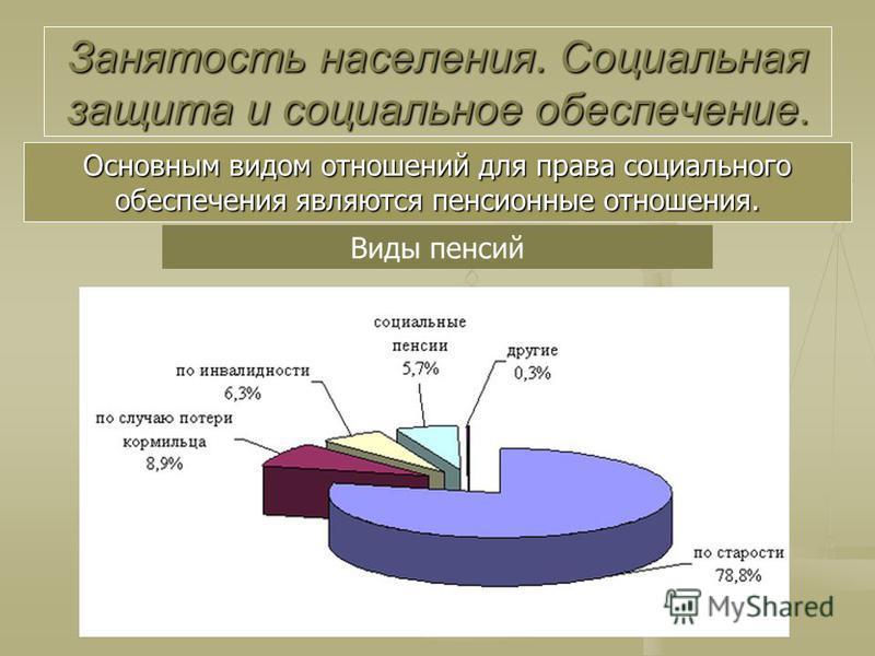 Основным видом отношений для права социального обеспечения являются пенсионные отношения. Виды пенсий