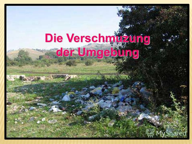 Das Problem des Mülls Die Verschmuzung der Umgebung