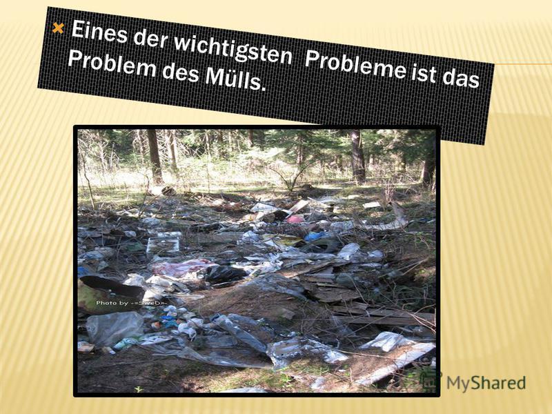 Eines der wichtigsten Probleme ist das Problem des Mülls.