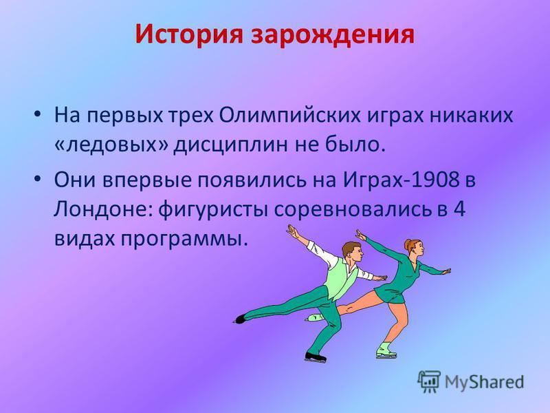 История зарождения На первых трех Олимпийских играх никаких «ледовых» дисциплин не было. Они впервые появились на Играх-1908 в Лондоне: фигуристы соревновались в 4 видах программы.