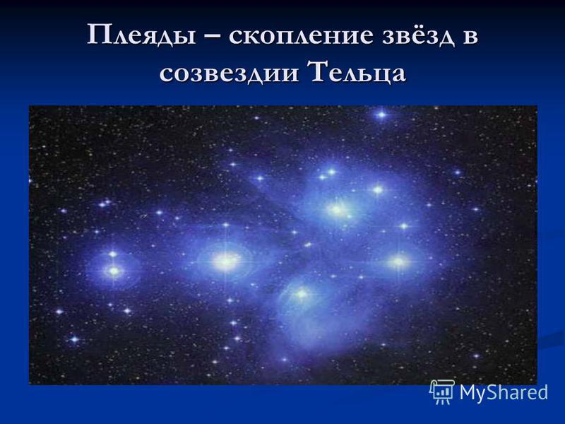 Плеяды – скопление звёзд в созвездии Тельца