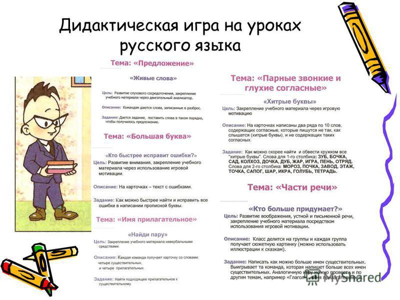 Дидактическая игра на уроках русского языка