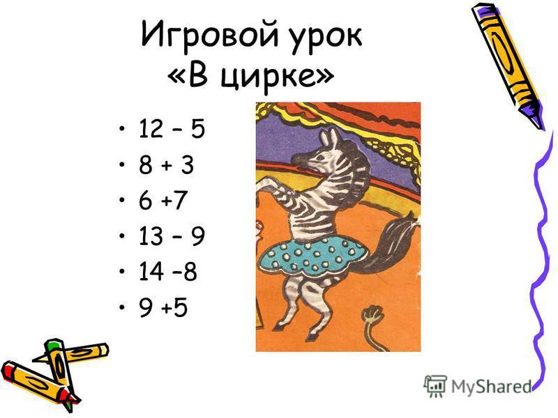 Игровой урок «В цирке» 12 – 5 8 + 3 6 +7 13 – 9 14 –8 9 +5