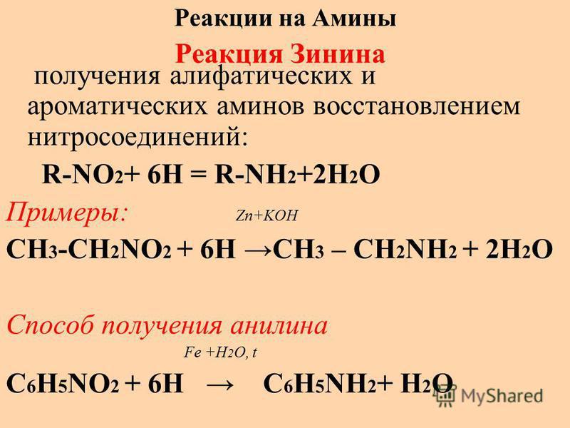 Реакции на Амины Реакция Зинина получения алифатических и ароматических аминов восстановлением нитросоединений: R-NO 2 + 6H = R-NH 2 +2H 2 O Примеры: Zn+KOH CH 3 -CH 2 NO 2 + 6H CH 3 – CH 2 NH 2 + 2H 2 O Способ получения анилина Fe +H 2 O, t C 6 H 5