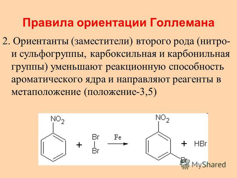 Правила ориентации Голлемана 2. Ориентанты (заместители) второго рода (нитро- и сульфогруппы, карбоксильная и карбонильная группы) уменьшают реакционную способность ароматического ядра и направляют реагенты в метаположение (положение-3,5)