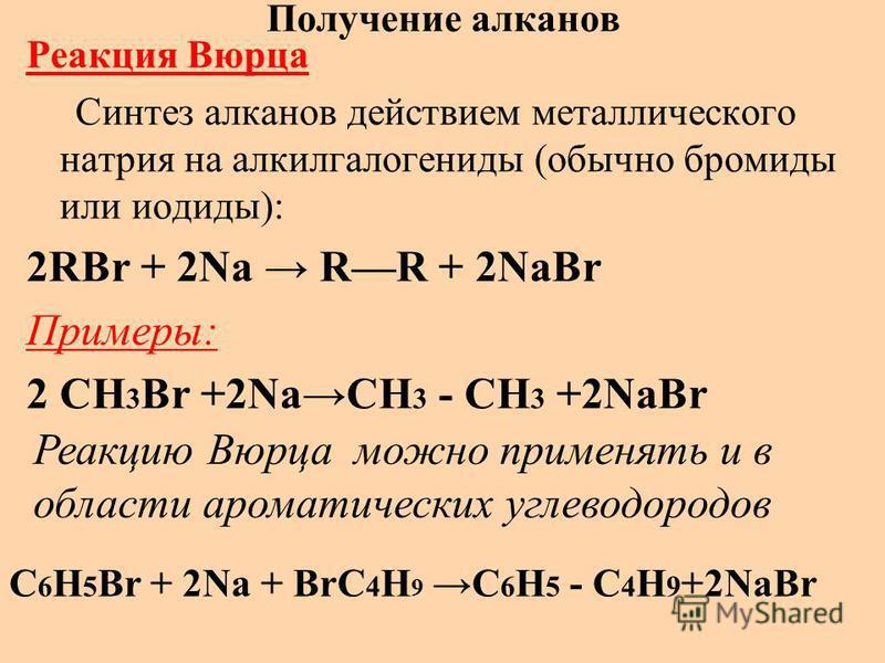 Получение алканов Реакция Вюрца Синтез алканов действием металлического натрия на алкилгалогениды (обычно бромиды или иодиды): 2RBr + 2Na RR + 2NaBr Примеры: 2 CH 3 Br +2NaCH 3 - CH 3 +2NaBr Реакцию Вюрца можно применять и в области ароматических угл