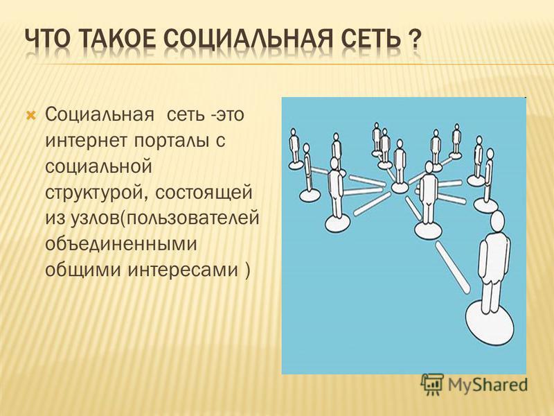 Социальная сеть -это интернет порталы с социальной структурой, состоящей из узлов(пользователей объединенными общими интересами )