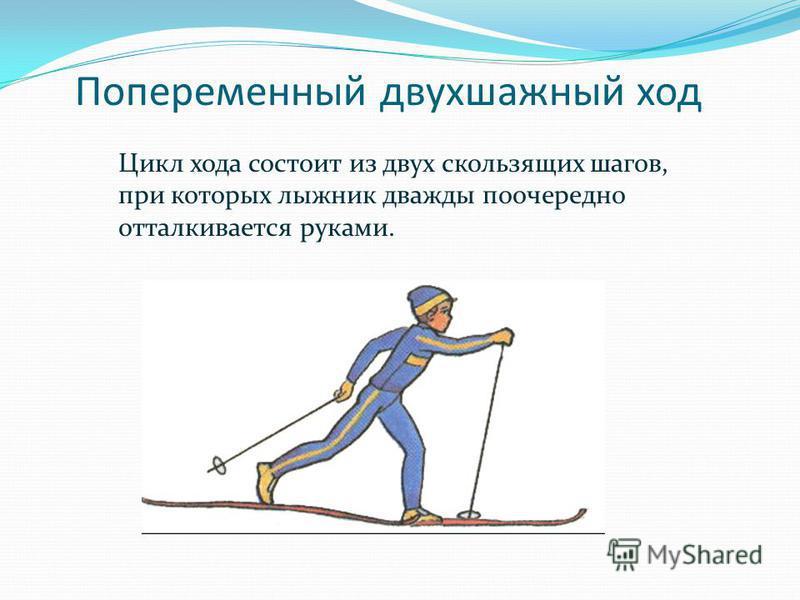 Попеременный двухшажный ход Цикл хода состоит из двух скользящих шагов, при которых лыжник дважды поочередно отталкивается руками.