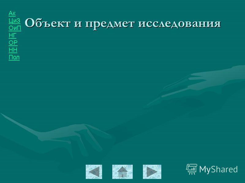 Ак ЦиЗ ОиП НГ ОР НН Пол Объект и предмет исследования