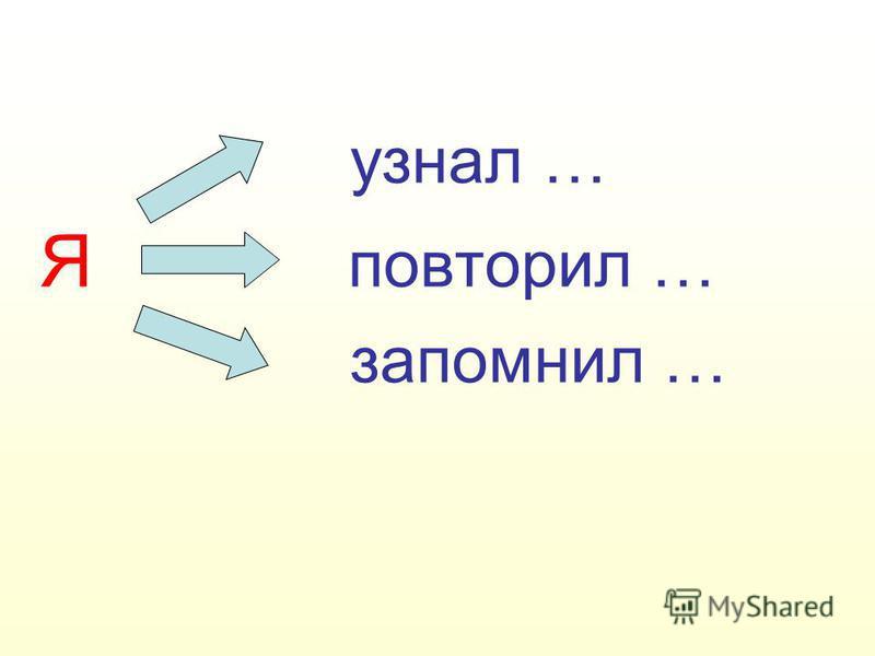 узнал … Я повторил … запомнил …