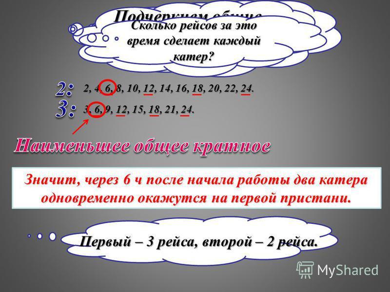 Искомое время должно делиться без остатка и на 2, и на 3, то есть должно быть кратным числам 2 и 3. 2, 4, 6, 8, 10, 12, 14, 16, 18, 20, 22, 24. 3, 6, 9, 12, 15, 18, 21, 24. Подчеркнем общие кратные чисел 2 и 3. Значит, через 6 ч после начала работы д