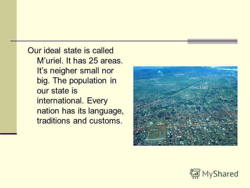 Our ideal state is called Muriel. It has 25 areas. Its neigher small nor big. The population in our state is international. Every nation has its language, traditions and customs.