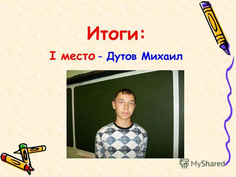 Итоги: I место – Дутов Михаил