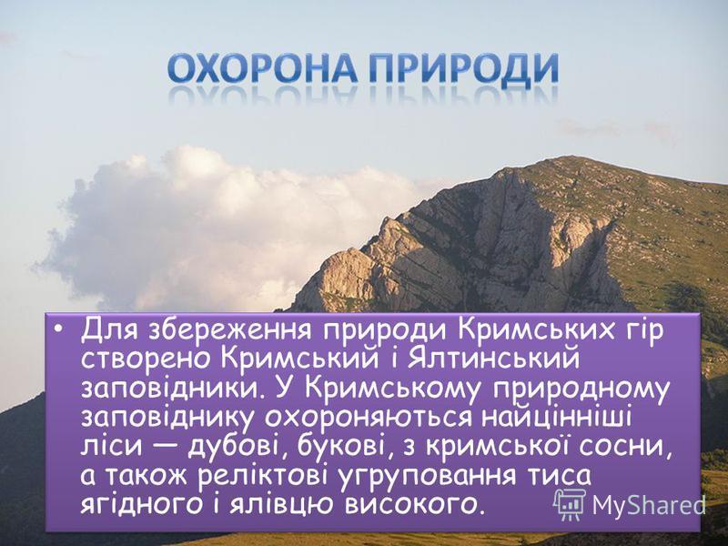 Для збереження природи Кримських гір створено Кримський і Ялтинський заповідники. У Кримському природному заповіднику охороняються найцінніші ліси дубові, букові, з кримської сосни, а також реліктові угруповання тиса ягідного і ялівцю високого.
