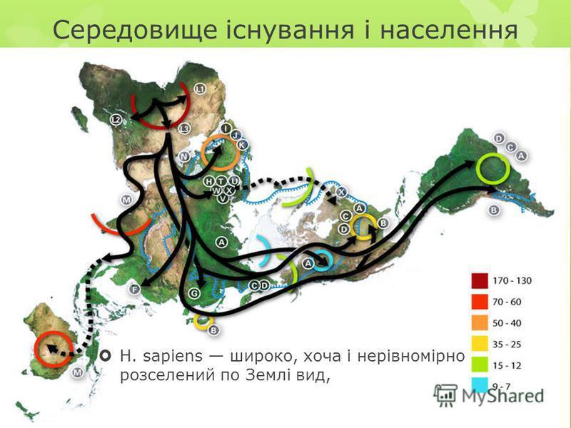 Середовище існування і населення Н. sapiens широко, хоча і нерівномірно розселений по Землі вид,