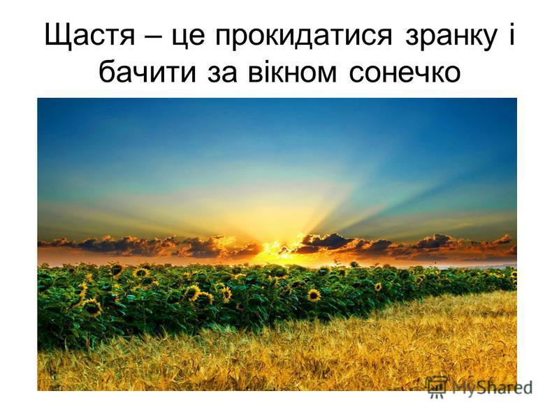 Щастя – це прокидатися зранку і бачити за вікном сонечко