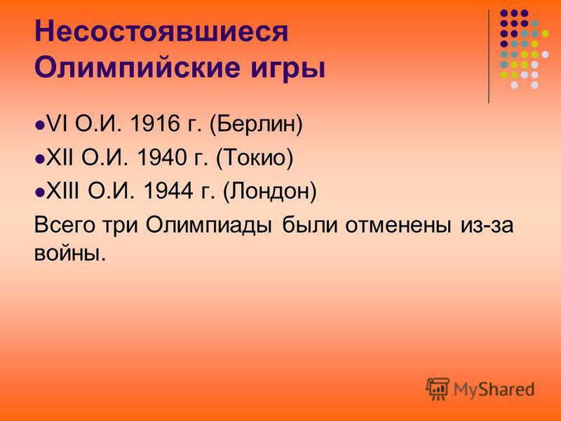 Несостоявшиеся Олимпийские игры VI О.И. 1916 г. (Берлин) XII О.И. 1940 г. (Токио) XIII О.И. 1944 г. (Лондон) Всего три Олимпиады были отменены из-за войны.
