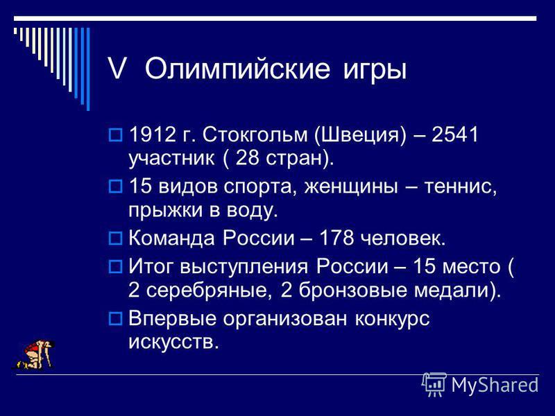 V Олимпийские игры 1912 г. Стокгольм (Швеция) – 2541 участник ( 28 стран). 15 видов спорта, женщины – теннис, прыжки в воду. Команда России – 178 человек. Итог выступления России – 15 место ( 2 серебряюные, 2 бронзовые медали). Впервые организован ко