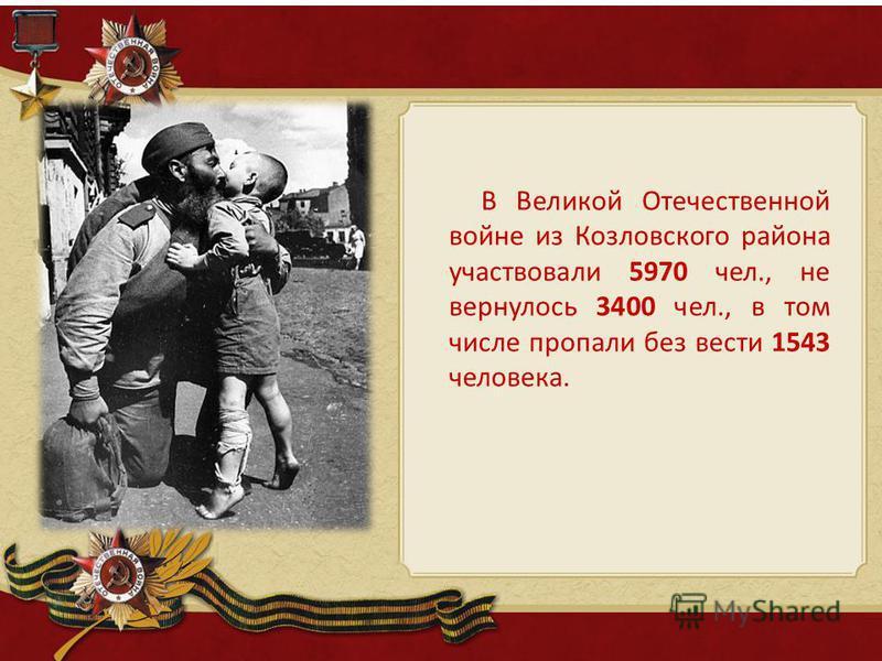 В Великой Отечественной войне из Козловского района участвовали 5970 чел., не вернулось 3400 чел., в том числе пропали без вести 1543 человека.