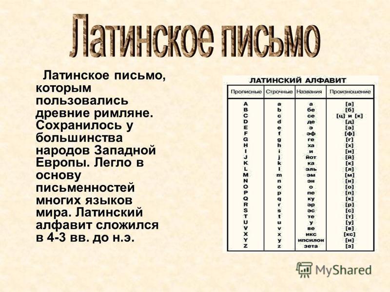 Латинское письмо, которым пользовались древние римляне. Сохранилось у большинства народов Западной Европы. Легло в основу письменностей многих языков мира. Латинский алфавит сложился в 4-3 вв. до н.э.