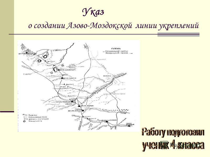 Указ о создании Азово-Моздокской линии укреплений