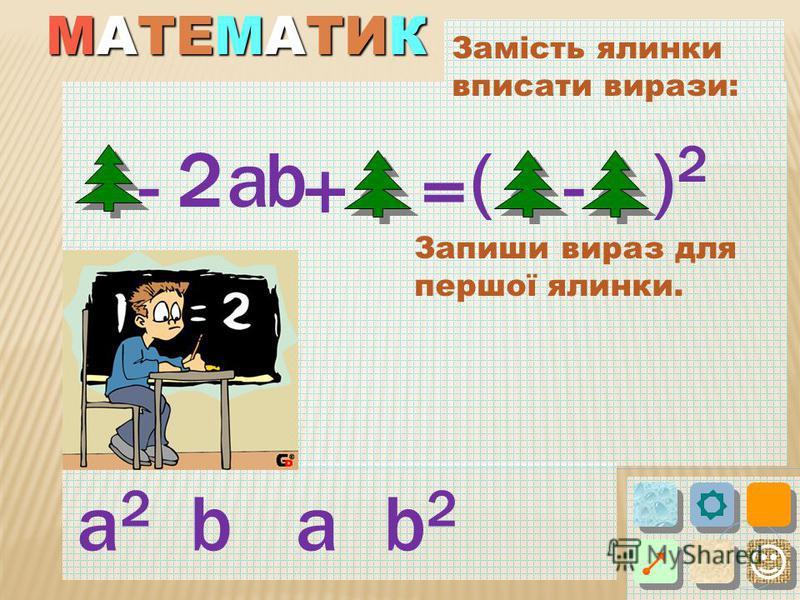 Замість ялинки вписати вирази: ba 2 - = () + - a2a2 a 2 b2b2 b Запиши вираз для першої ялинки.