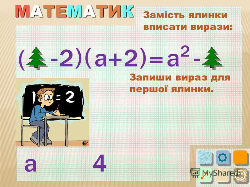 Замість ялинки вписати вирази: ( ) 2- = ( a + ) -а а4 2 2 Запиши вираз для першої ялинки.