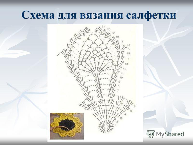 Схема для вязания салфетки