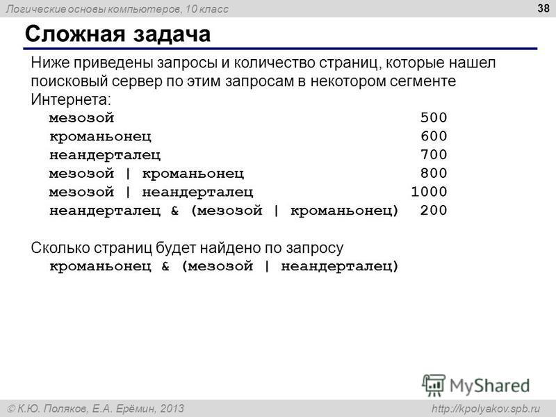 Логические основы компьютеров, 10 класс К.Ю. Поляков, Е.А. Ерёмин, 2013 http://kpolyakov.spb.ru Сложная задача 38 Ниже приведены запросы и количество страниц, которые нашел поисковый сервер по этим запросам в некотором сегменте Интернета: мезозой 500
