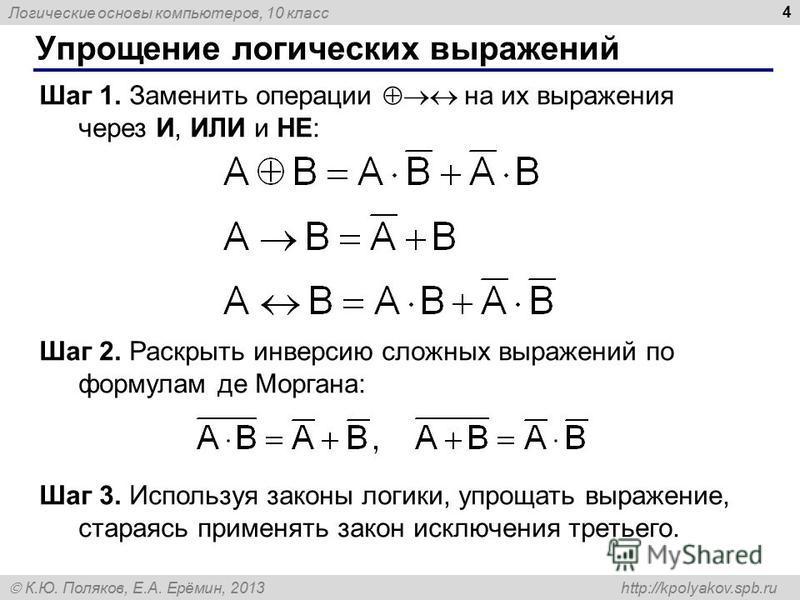 Логические основы компьютеров, 10 класс К.Ю. Поляков, Е.А. Ерёмин, 2013 http://kpolyakov.spb.ru 4 Упрощение логических выражений Шаг 1. Заменить операции на их выражения через И, ИЛИ и НЕ: Шаг 2. Раскрыть инверсию сложных выражений по формулам де Мор
