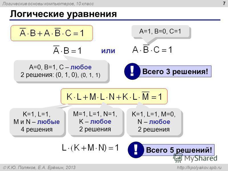 Логические основы компьютеров, 10 класс К.Ю. Поляков, Е.А. Ерёмин, 2013 http://kpolyakov.spb.ru 7 Логические уравнения A=0, B=1, C – любое 2 решения: (0, 1, 0), (0, 1, 1) A=0, B=1, C – любое 2 решения: (0, 1, 0), (0, 1, 1) или A=1, B=0, C=1 Всего 3 р