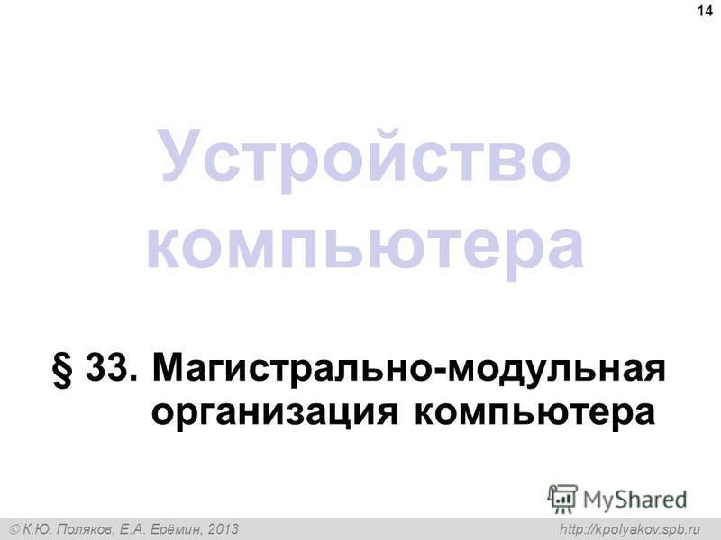 К.Ю. Поляков, Е.А. Ерёмин, 2013 http://kpolyakov.spb.ru Устройство компьютера § 33. Магистрально-модульная организация компьютера 14
