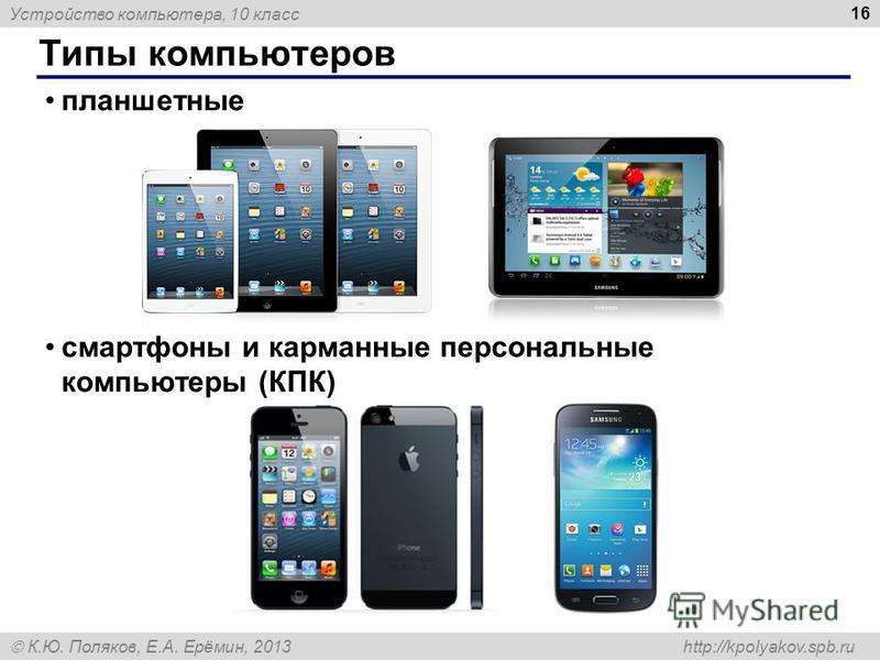 Устройство компьютера, 10 класс К.Ю. Поляков, Е.А. Ерёмин, 2013 http://kpolyakov.spb.ru Типы компьютеров 16 планшетные смартфоны и карманные персональные компьютеры (КПК)