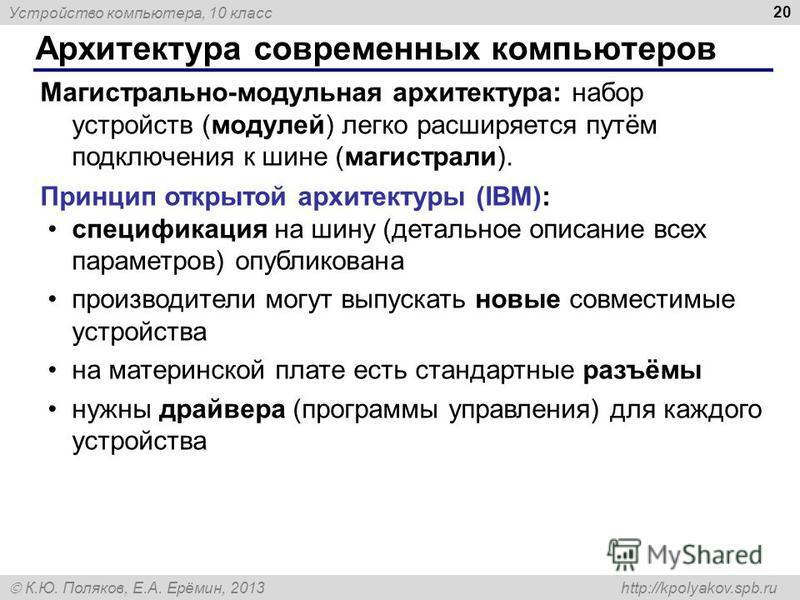 Устройство компьютера, 10 класс К.Ю. Поляков, Е.А. Ерёмин, 2013 http://kpolyakov.spb.ru Архитектура современных компьютеров 20 Магистрально-модульная архитектура: набор устройств (модулей) легко расширяется путём подключения к шине (магистрали). Прин
