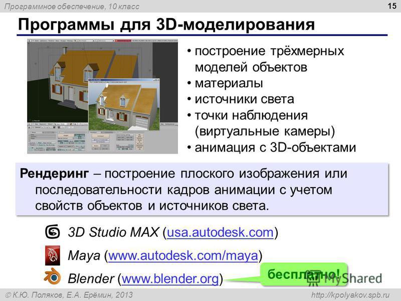 Программное обеспечение, 10 класс К.Ю. Поляков, Е.А. Ерёмин, 2013 http://kpolyakov.spb.ru Программы для 3D-моделирования 15 построение трёхмерных моделей объектов материалы источники света точки наблюдения (виртуальные камеры) анимация с 3D-объектами