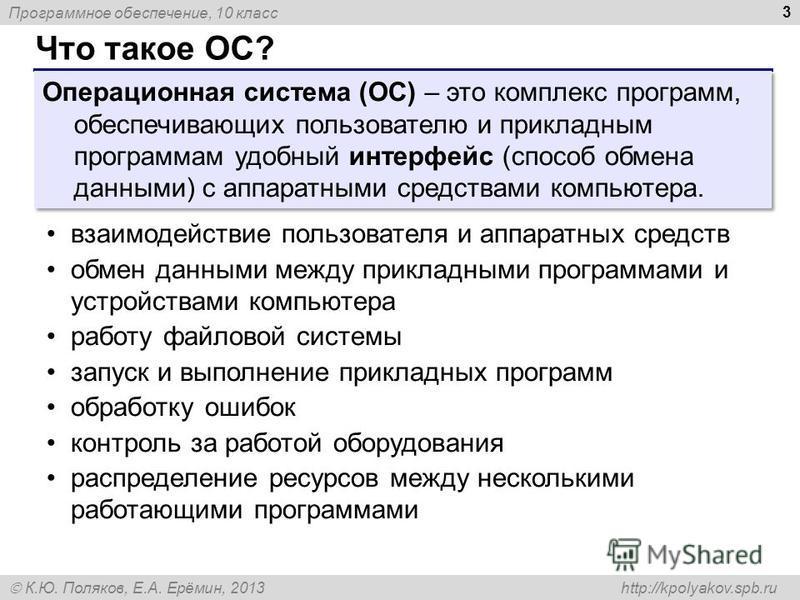 Программное обеспечение, 10 класс К.Ю. Поляков, Е.А. Ерёмин, 2013 http://kpolyakov.spb.ru Что такое ОС? 3 Операционная система (ОС) – это комплекс программ, обеспечивающих пользователю и прикладным программам удобный интерфейс (способ обмена данными)