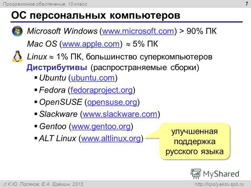 Программное обеспечение, 10 класс К.Ю. Поляков, Е.А. Ерёмин, 2013 http://kpolyakov.spb.ru ОС персональных компьютеров 7 Microsoft Windows (www.microsoft.com) > 90% ПКwww.microsoft.com Mac OS (www.apple.com) 5% ПКwww.apple.com Linux 1% ПК, большинство