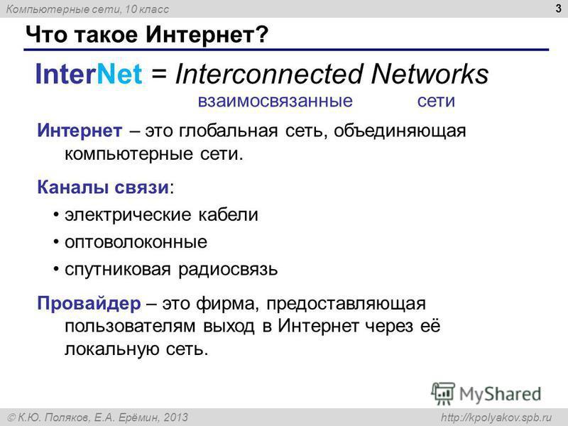 Компьютерные сети, 10 класс К.Ю. Поляков, Е.А. Ерёмин, 2013 http://kpolyakov.spb.ru Что такое Интернет? 3 InterNet = Interconnected Networks Интернет – это глобальная сеть, объединяющая компьютерные сети. Каналы связи: электрические кабели оптоволоко