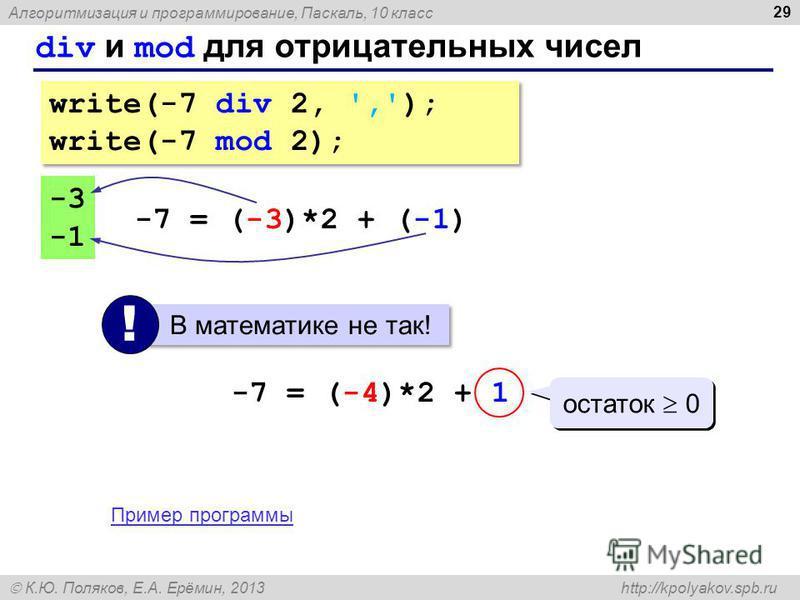 Алгоритмизация и программирование, Паскаль, 10 класс К.Ю. Поляков, Е.А. Ерёмин, 2013 http://kpolyakov.spb.ru div и mod для отрицательных чисел 29 write(-7 div 2, ','); write(-7 mod 2); write(-7 div 2, ','); write(-7 mod 2); -3 -7 = (-3)*2 + (-1) В ма