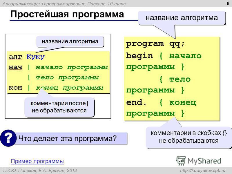 Алгоритмизация и программирование, Паскаль, 10 класс К.Ю. Поляков, Е.А. Ерёмин, 2013 http://kpolyakov.spb.ru Простейшая программа 9 program qq; begin { начало программы } { тело программы } end. { конец программы } program qq; begin { начало программ
