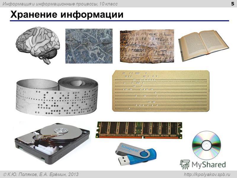 Информация и информационные процессы, 10 класс К.Ю. Поляков, Е.А. Ерёмин, 2013 http://kpolyakov.spb.ru Хранение информации 5