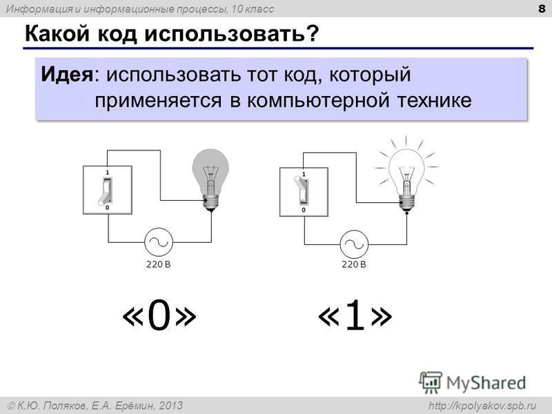 Информация и информационные процессы, 10 класс К.Ю. Поляков, Е.А. Ерёмин, 2013 http://kpolyakov.spb.ru Какой код использовать? 8 Идея: использовать тот код, который применяется в компьютерной технике 220 В «0»«1»«1»